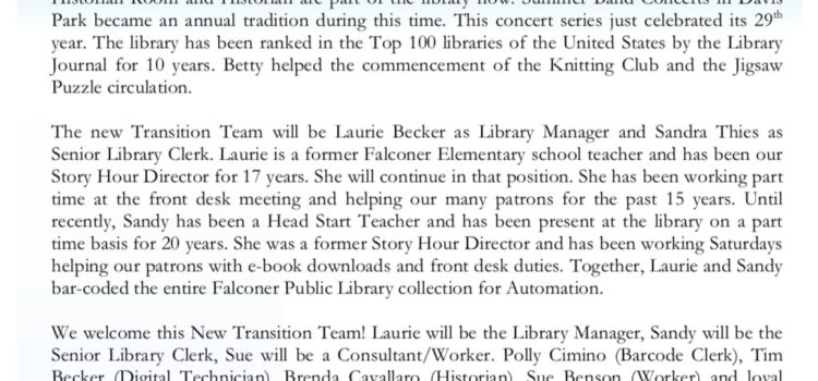 Library Announces Staff Changes